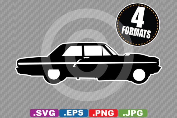 Classic / Antique 1964 Car Silhouette Graphic Illustrations By iDrawSilhouettes
