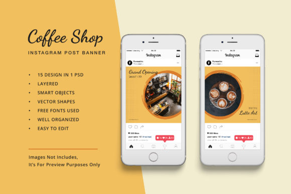 Download Free Coffee Shop Instagram Post Banner Graphic By Formatikastd Creative Fabrica for Cricut Explore, Silhouette and other cutting machines.