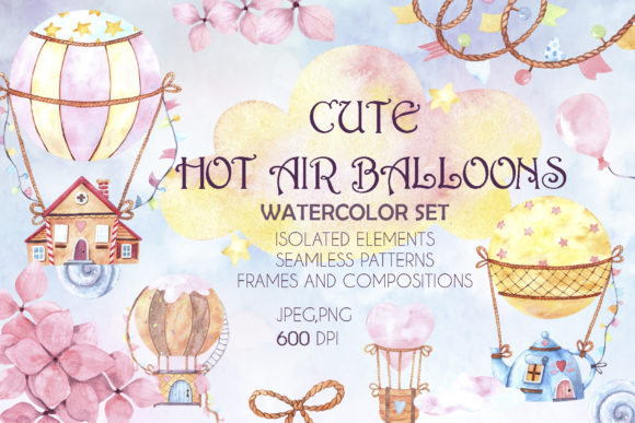 Print on Demand: Cute Hot Air Balloons Watercolor Set Graphic Illustrations By VashaRisovasha