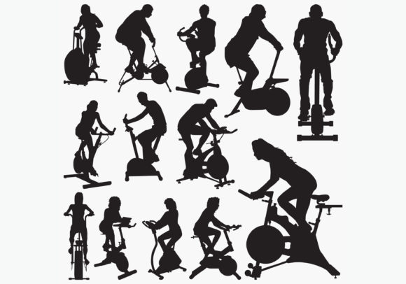 Download Free Exercise Bike Silhouettes Graphic By Octopusgraphic Creative for Cricut Explore, Silhouette and other cutting machines.