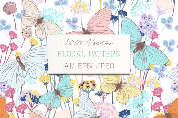 Fashion Floral Pattern with Butterflies Graphic Patterns By fleurartmariia - Image 1