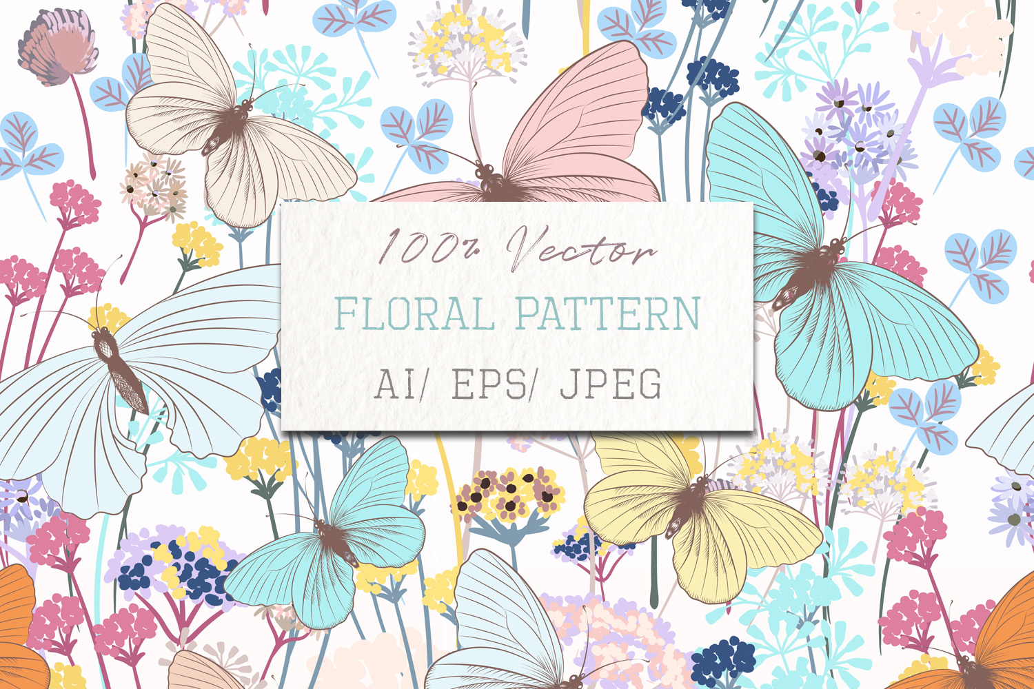 Download Free Fashion Floral Pattern With Butterflies Graphic By for Cricut Explore, Silhouette and other cutting machines.