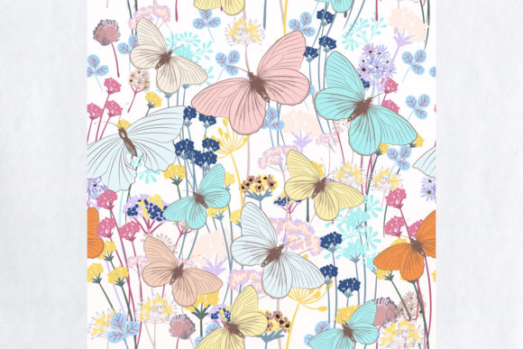 Fashion Floral Pattern with Butterflies Graphic Patterns By fleurartmariia - Image 2