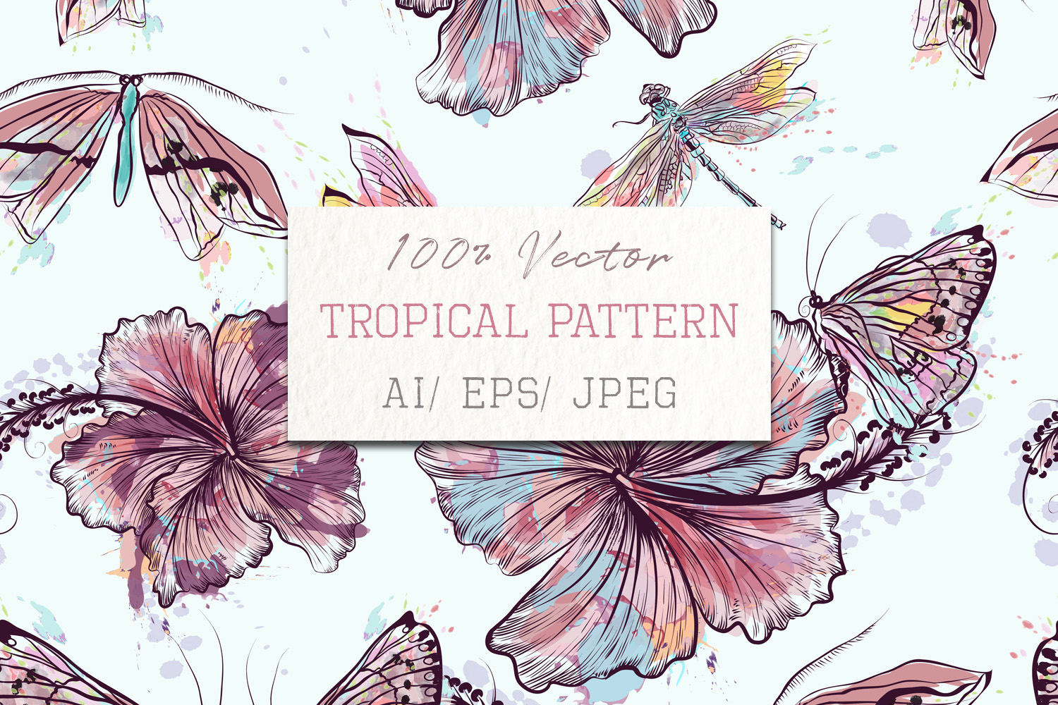 Download Free Fashion Vector Floral Pattern Hibiscus Graphic By Fleurartmariia SVG Cut Files
