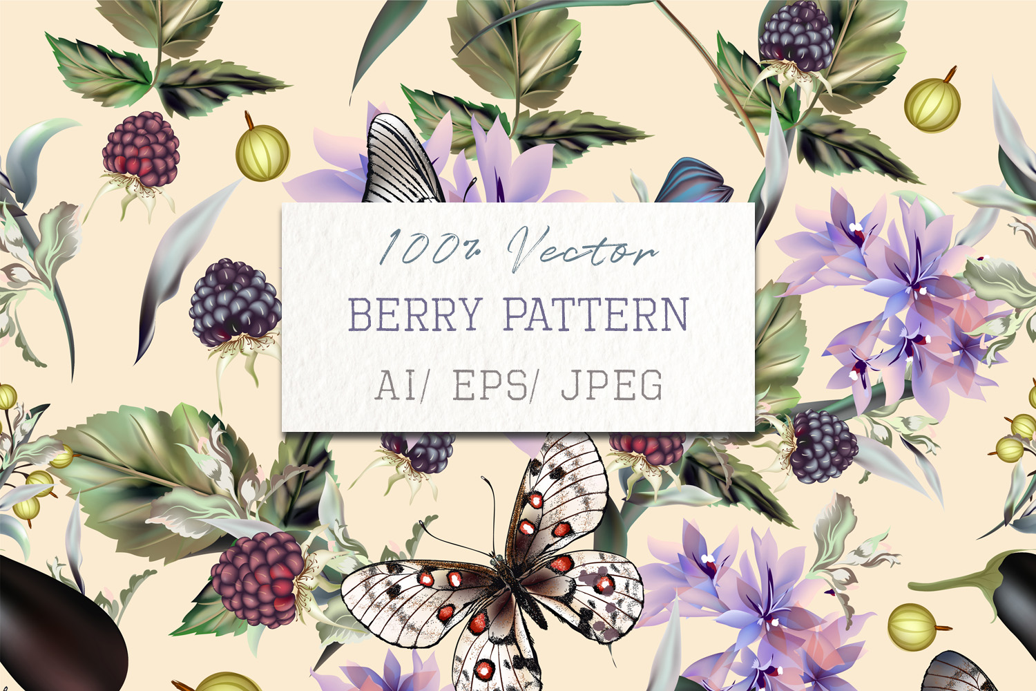 Download Free Fashion Vector Pattern With Butterflies Graphic By for Cricut Explore, Silhouette and other cutting machines.
