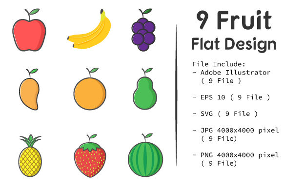 Download Free Flat Fruit Icon Design Pack Graphic By Tifon Studio Creative for Cricut Explore, Silhouette and other cutting machines.