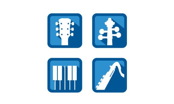 Download Free Guitar Violin Piano Flute Music Logo Graphic By Enola99d Creative Fabrica for Cricut Explore, Silhouette and other cutting machines.