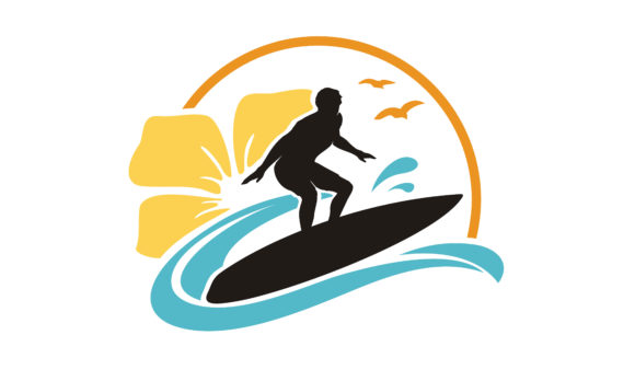 Download Free Hibiscus Flower Surf Hawaii Beach Logo Graphic By Enola99d Creative Fabrica for Cricut Explore, Silhouette and other cutting machines.