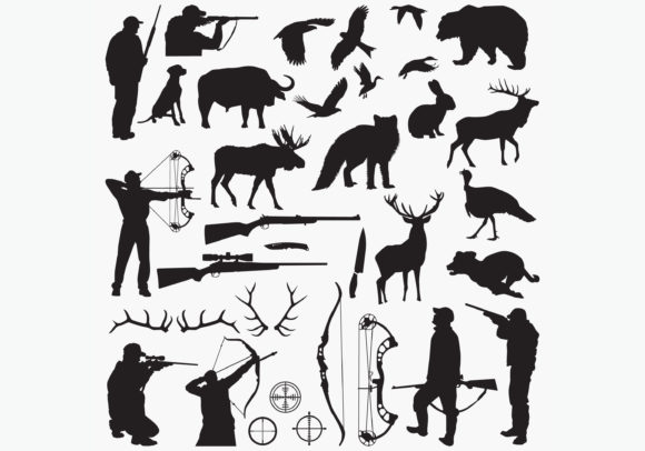 Download Free Hunting Silhouettes Graphic By Octopusgraphic Creative Fabrica for Cricut Explore, Silhouette and other cutting machines.
