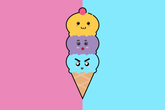 Download Free Ice Cream Cone Kawaii Cute Illustration Graphic By Purplebubble for Cricut Explore, Silhouette and other cutting machines.