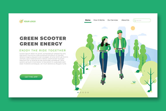 Landing Page Electric Scooter Technology Graphic Landing Page Templates By salmanalfa