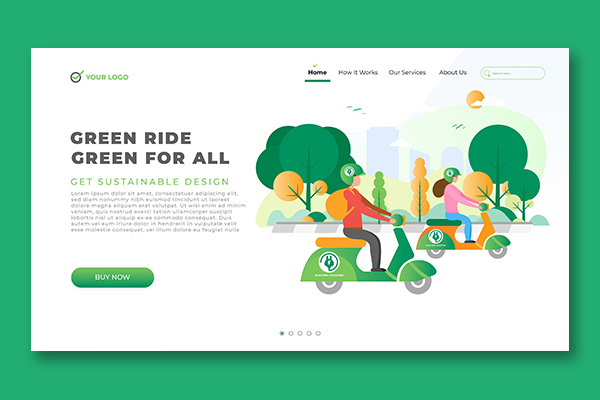 Download Free Landing Page Motor Bike Vector Theme Graphic By Salmanalfa for Cricut Explore, Silhouette and other cutting machines.