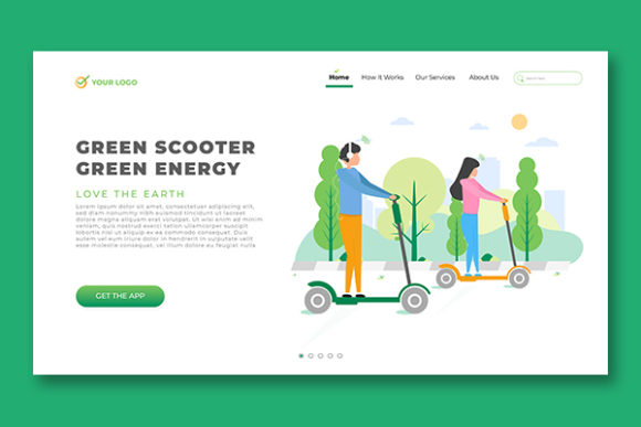 Landing Page Scooter Green Energy Theme Graphic Landing Page Templates By salmanalfa