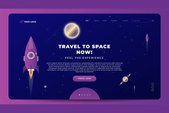 Landing Page Space Travel Concept Graphic Landing Page Templates By salmanalfa