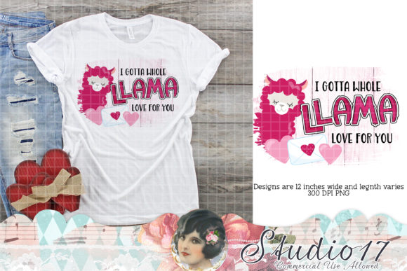 Print on Demand: Llama Love Valentine Sublimation Design Graphic Crafts By Studio 17 Designs - Image 1
