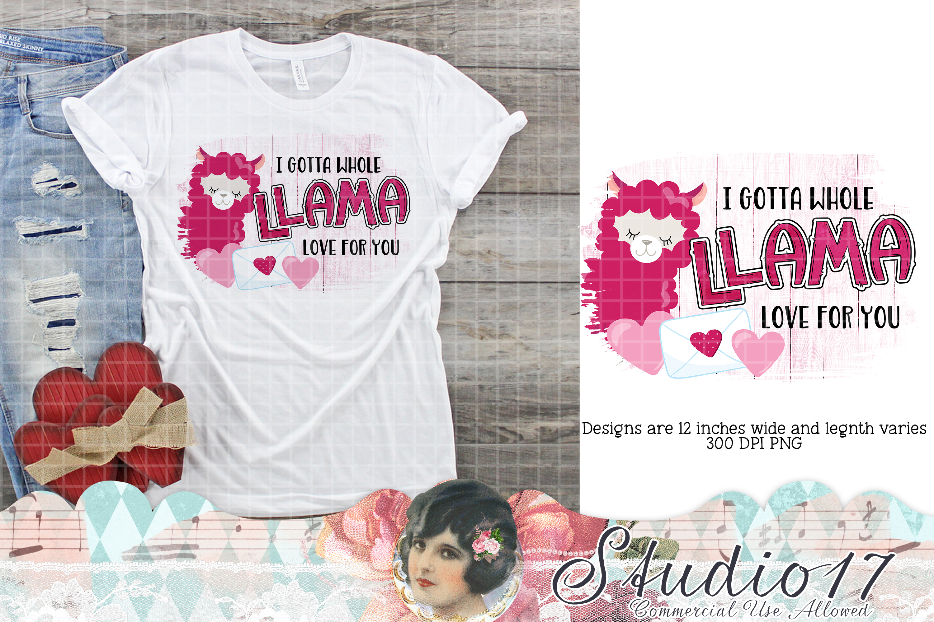 Download Free Llama Love Valentine Sublimation Design Graphic By Studio 17 for Cricut Explore, Silhouette and other cutting machines.