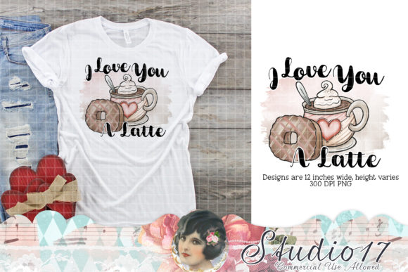 Print on Demand: Love You a Latte Grafik Designvorlagen von Studio 17 Designs