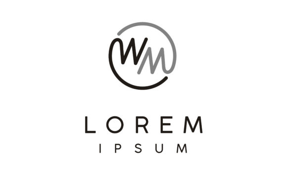 Download Free Monogram Mw Circular Initial Wm Logo Graphic By Enola99d for Cricut Explore, Silhouette and other cutting machines.