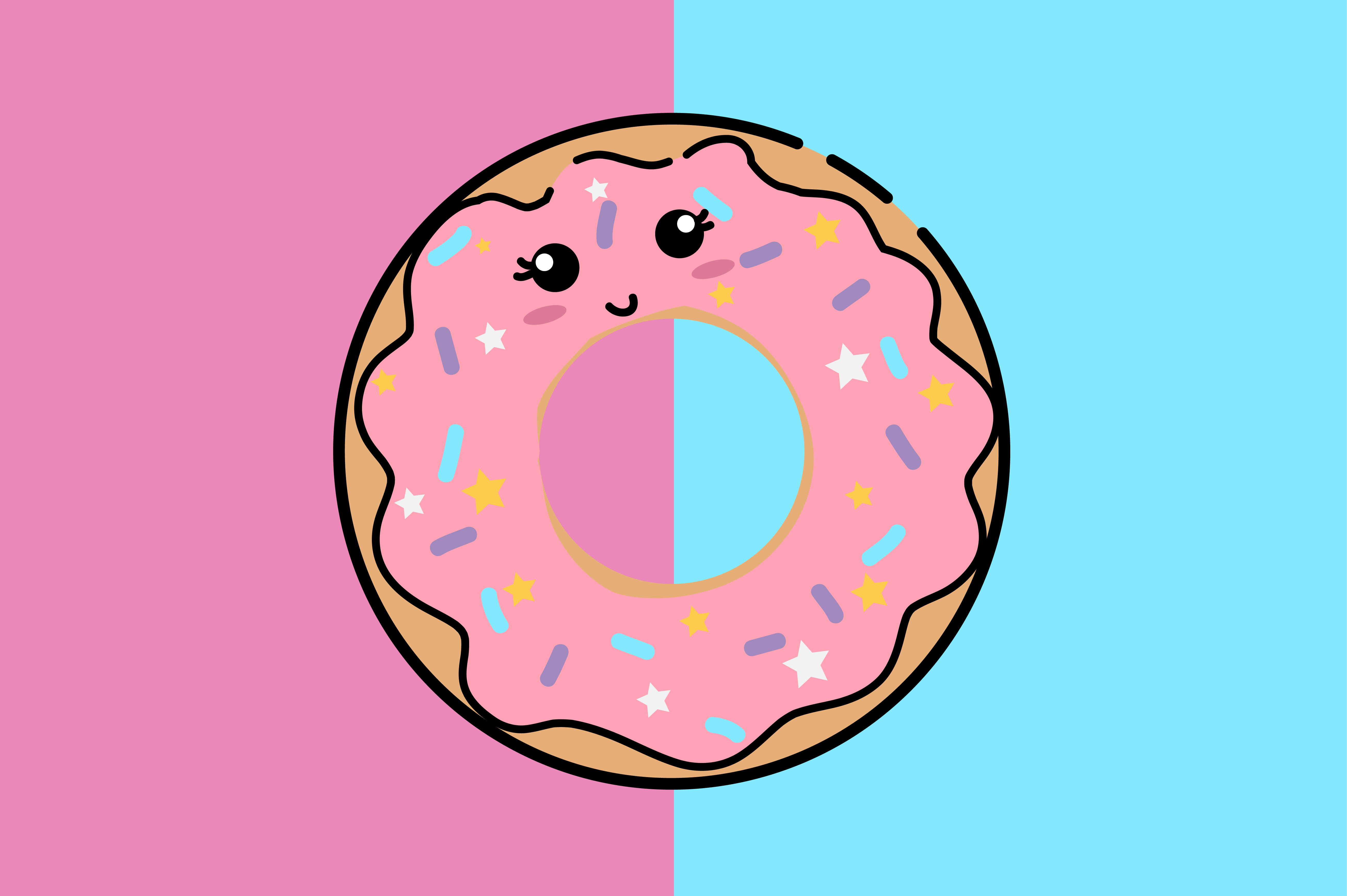 Download Free Pink Donut Kawaii Cute Illustration Graphic By Purplebubble for Cricut Explore, Silhouette and other cutting machines.