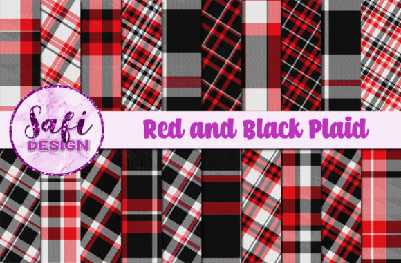 Print on Demand: Red and Black Plaid Backgrounds Graphic Backgrounds By Safi Designs