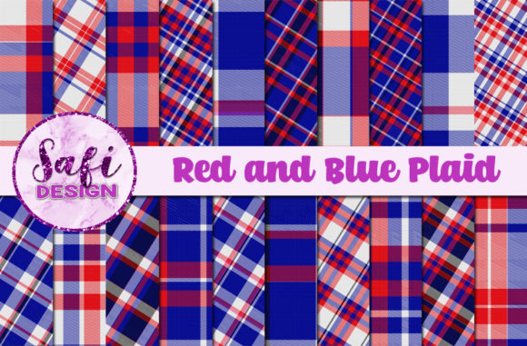 Print on Demand: Red and Blue Plaid Backgrounds Graphic Backgrounds By Safi Designs