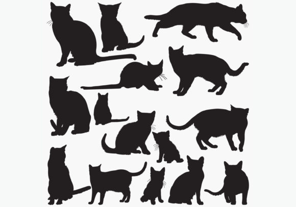 Download Free Russian Blue Cat Silhouettes Graphic By Octopusgraphic for Cricut Explore, Silhouette and other cutting machines.