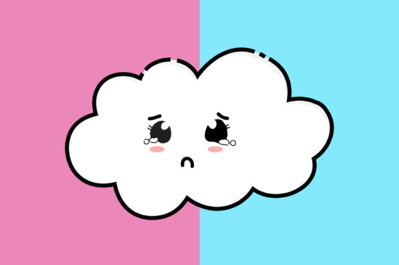 Download Free Sad Cloud Kawaii Cute Illustration Graphic By Purplebubble Creative Fabrica for Cricut Explore, Silhouette and other cutting machines.