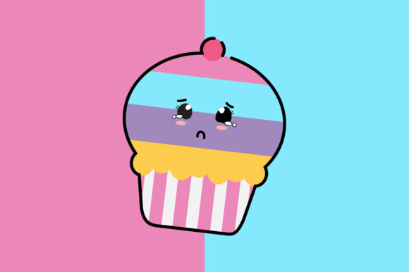Download Free Sad Cup Cake Kawaii Cute Illustration Graphic By Purplebubble for Cricut Explore, Silhouette and other cutting machines.