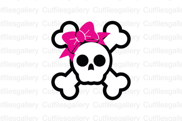 Download Free Skull With Bow Svg Graphic By Cutfilesgallery Creative Fabrica for Cricut Explore, Silhouette and other cutting machines.