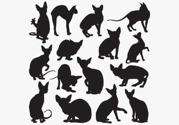 Download Free Sphynx Cat Silhouettes Graphic By Octopusgraphic Creative Fabrica for Cricut Explore, Silhouette and other cutting machines.