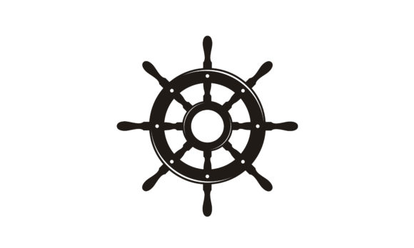 Print on Demand: Steering Wheel Captain Boat Ship Yacht Graphic Logos By Enola99d