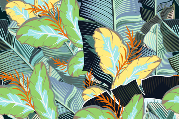 Tropical Pattern with Realistic Banana Graphic Patterns By fleurartmariia