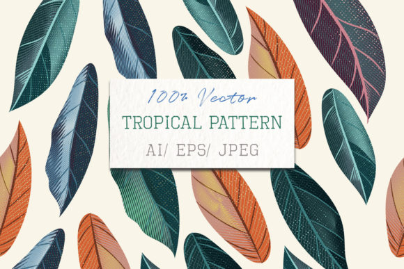 Tropical Vector Pattern Colored Leaves Graphic Patterns By fleurartmariia