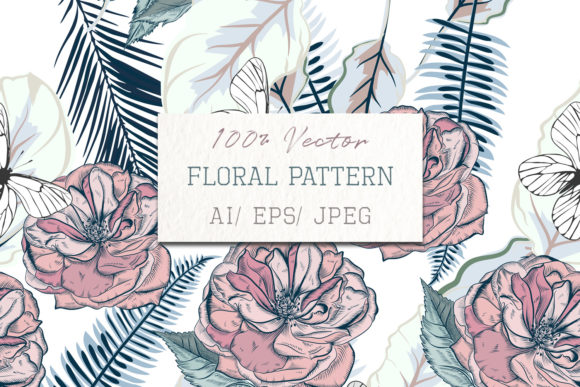 Vector Pattern with Palm Leafs and Rose Gráfico Moldes Por fleurartmariia