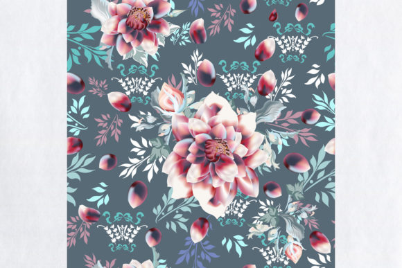 Download Free Vintage Vector Pattern With Flowers Graphic By Fleurartmariia for Cricut Explore, Silhouette and other cutting machines.