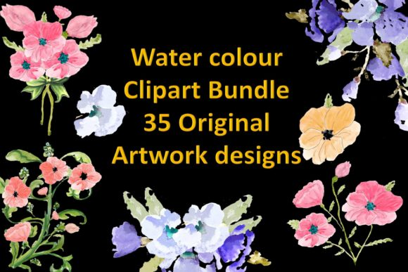 Print on Demand: Watercolour Flower Clipart Bundle CU Graphic Illustrations By The Paper Princess