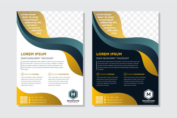 Print on Demand: Blue Gold Fluid Flyer Graphic Graphic Templates By noory.shopper