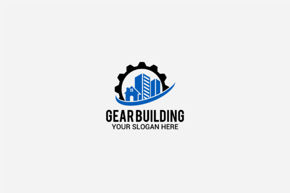 Print on Demand: Gear Building Logo Graphic Logos By shazdesigner