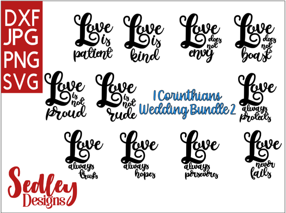 Download Free 1 Corinthians Love Chapter Bundle Graphic By Sedley Designs for Cricut Explore, Silhouette and other cutting machines.