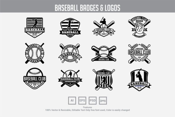 Download Free 12 Baseball Logo Badge Graphic By Octopusgraphic Creative Fabrica for Cricut Explore, Silhouette and other cutting machines.