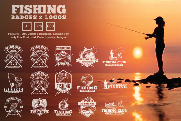 Download Free 15 Fishing Logos And Badges Graphic By Octopusgraphic Creative for Cricut Explore, Silhouette and other cutting machines.