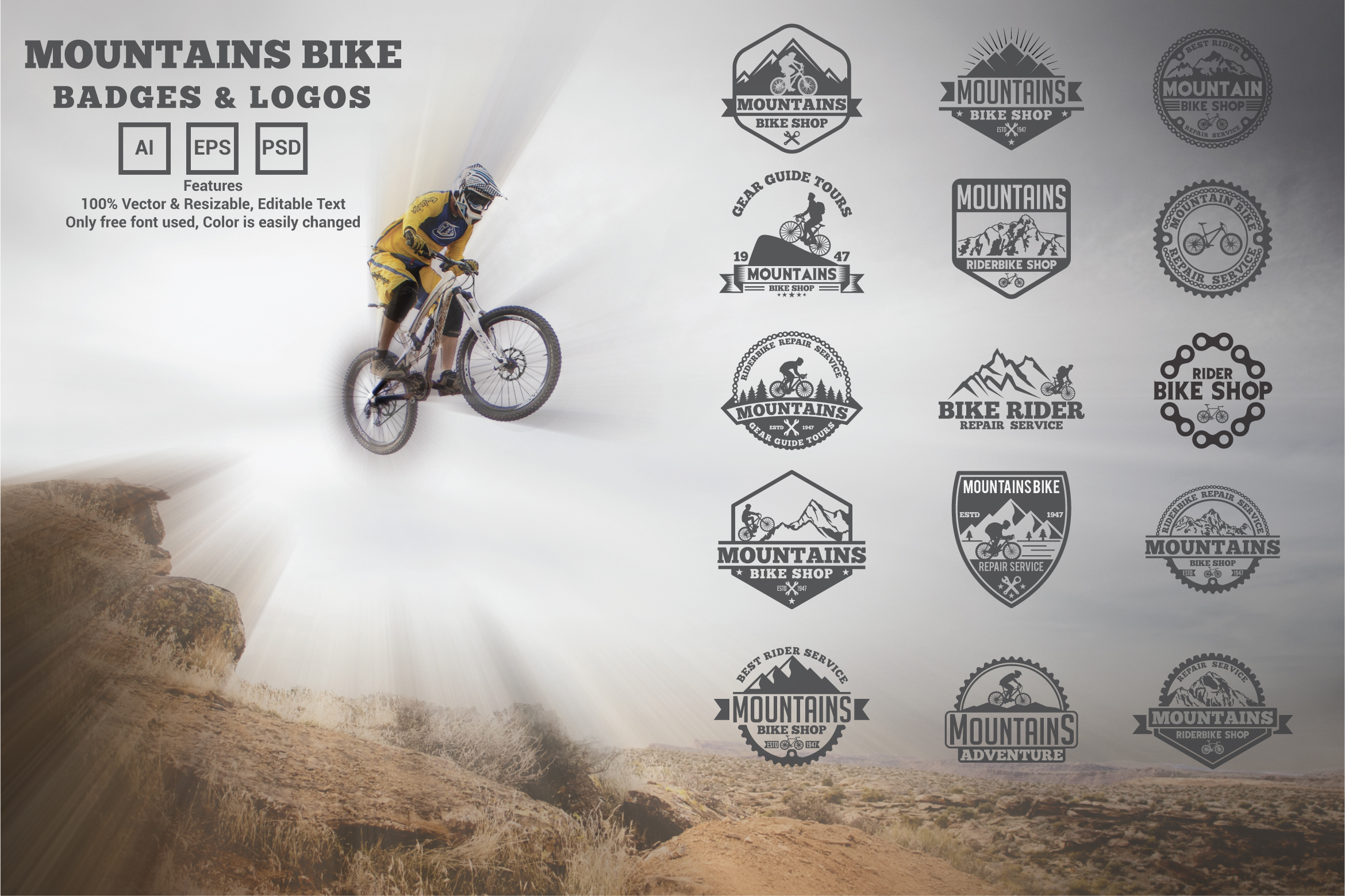 Download Free 15 Mountains Bike Logos And Badges Graphic By Octopusgraphic for Cricut Explore, Silhouette and other cutting machines.
