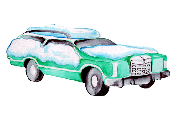 Station Wagon Covered in Snow in Watercolor Style Winter Craft Cut File By Creative Fabrica Crafts