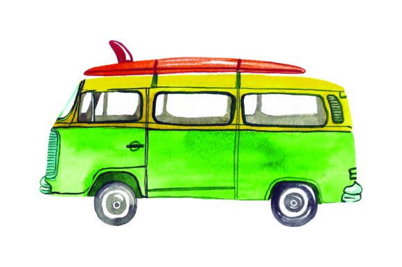 Retro Van with Surfboard Watercolor Summer Craft Cut File By Creative Fabrica Crafts