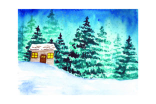 Snowy Landscape Watercolor Winter Craft Cut File By Creative Fabrica Crafts