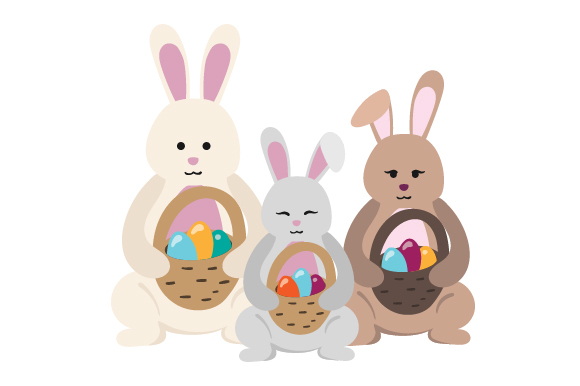 Download Free Bunny Family Holding Baskets Svg Cut File By Creative Fabrica for Cricut Explore, Silhouette and other cutting machines.