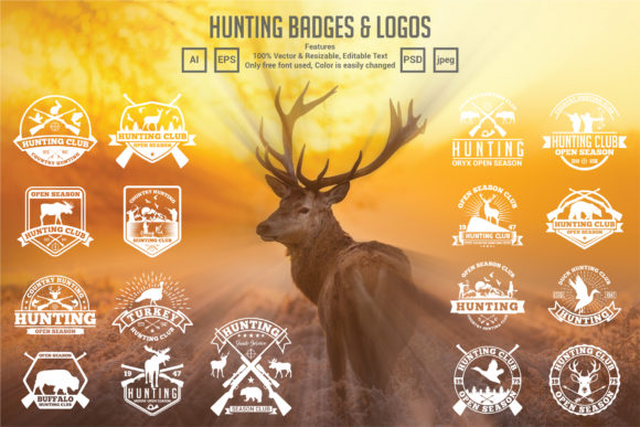 17 Hunting Badges & Logos Graphic Logos By octopusgraphic