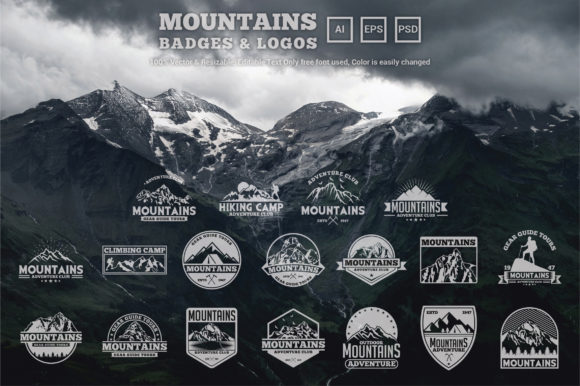 Download Free 18 Mountains Logos And Badges Graphic By Octopusgraphic for Cricut Explore, Silhouette and other cutting machines.