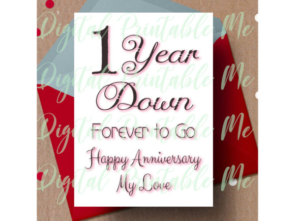 Download Free 1st Anniversary Card First One Year Graphic By for Cricut Explore, Silhouette and other cutting machines.