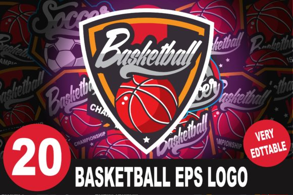 Download Free 20 Basketball Logo Bundle Graphic By Saber Studio Creative Fabrica for Cricut Explore, Silhouette and other cutting machines.